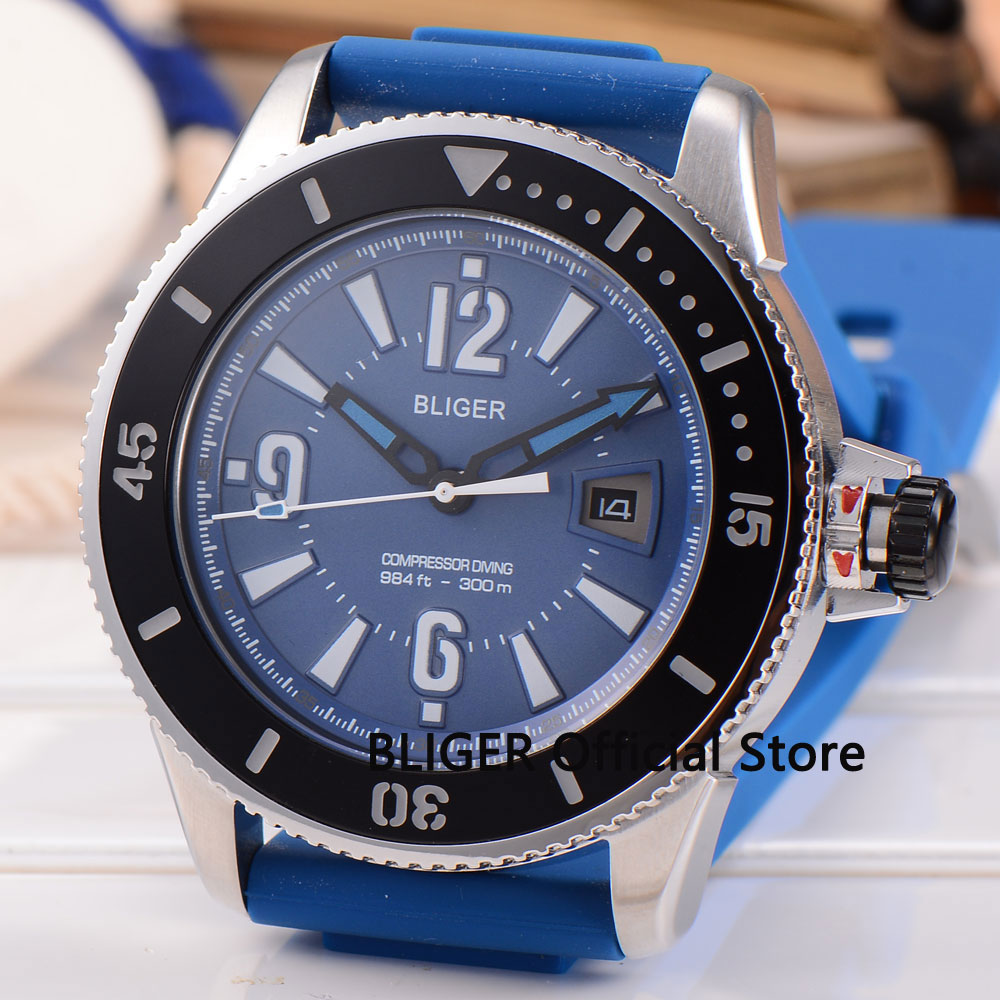 лучшая цена Fashion Bliger 43MM Blue Dial Black Ceramic Bezel Luminous Marks Date Adjust Rubber Strap Automatic Movement Men's Watch B189