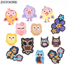 ZOTOONE Fashion Hot Owl Embroidered Iron on Patches for Clothing DIY Cute Motif Stripes Applique Sewing Badge Accessories E