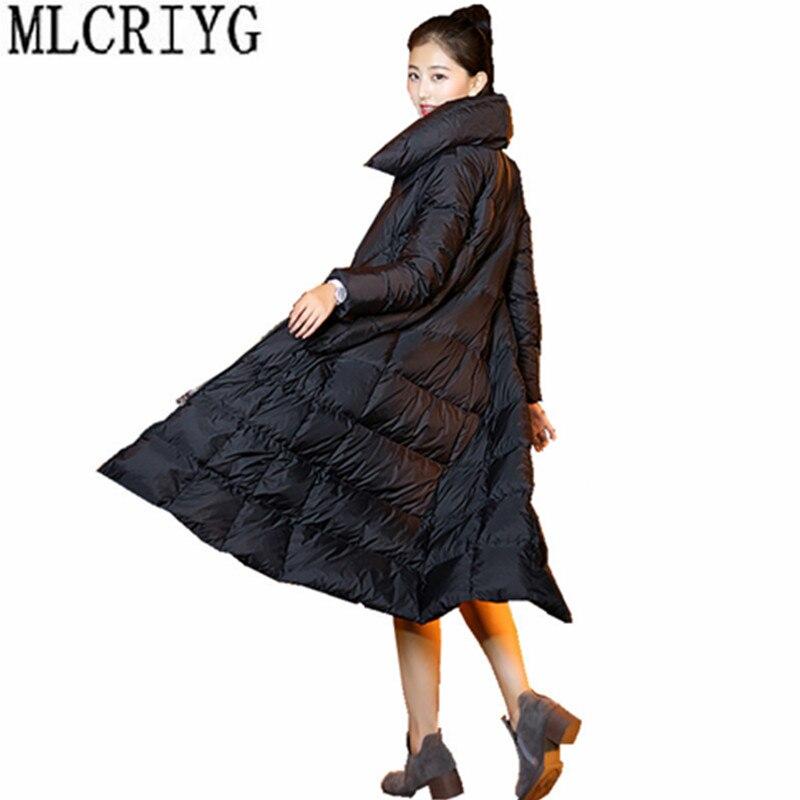 MLCRIYG 2018 Womens Winter Down Jackets Long Thick Warm Down Coat Female Zipper Winter Jacket Women Stand Collar/Hooded YQ275