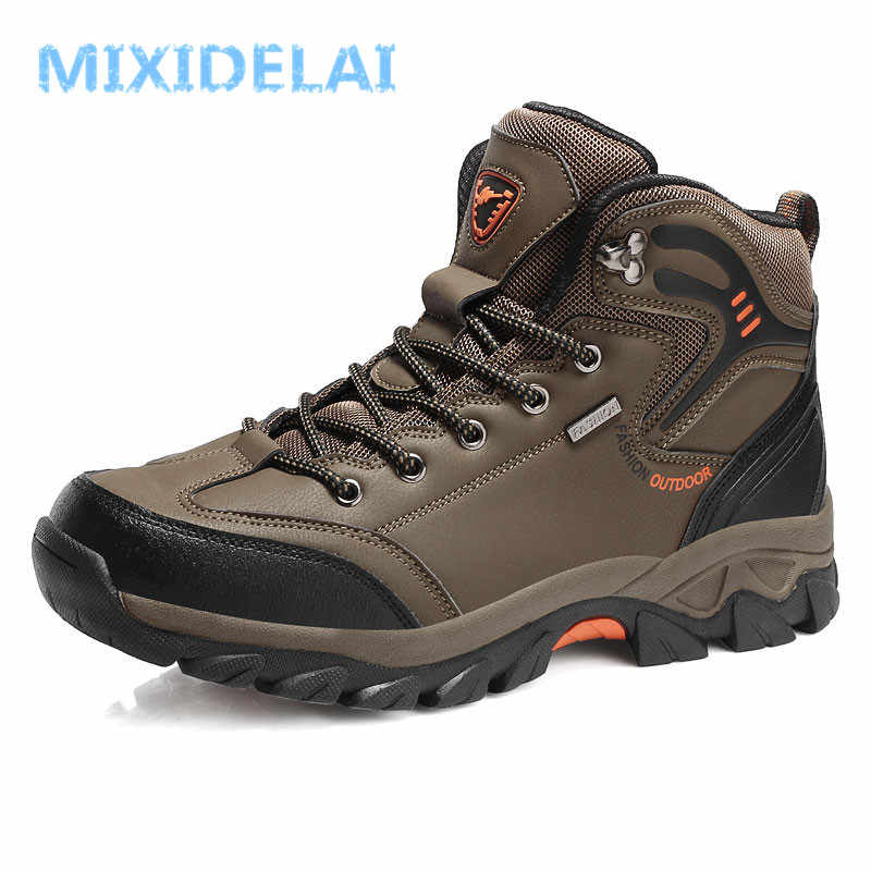 MIXIDELAI 2019 Mannen Laarzen Big Size 39-47 Lente Herfst Heren Lederen Fashion Sneakers Lace Up Outdoor Mountain waterdichtheid mannen Schoenen