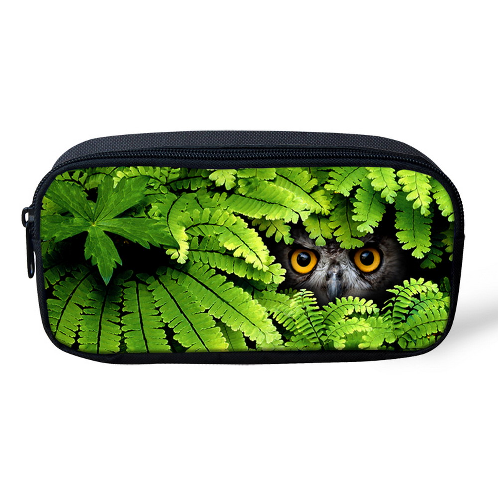 Women Cosmetic Makeup Pouch Bag 3D Animals Leopard Wolf Owl Print Portable  Student Stationery Pencil Bag