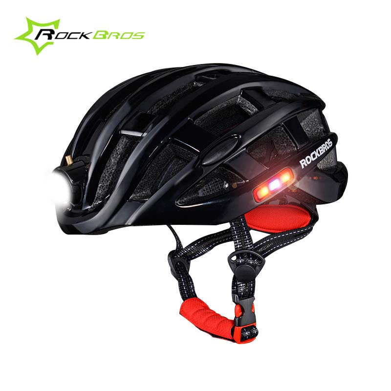 Rockbros Cycling Helmet With Light Waterproof Night Bicycle Helmet Outdoor Road Bike Helmet Casco Bicicleta MTB Casque Vtt mtb bicycle helmet safety adult mountain road bike helmets casco ciclismo man women cycling helmet 1x helmet and 1xgoggles