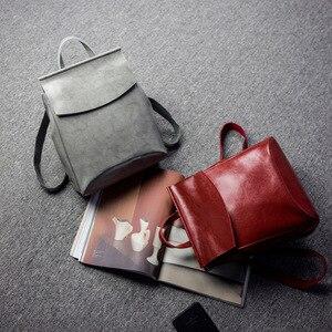 Image 2 - Fashion Design Rugzak Vrouwelijke Lederen Reistassen Schooltassen Voor Tienermeisjes Mochila Feminina Back Pack Dames Tas