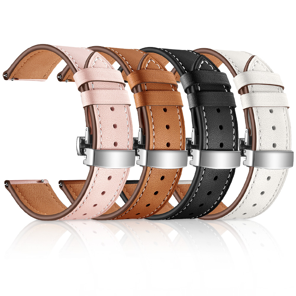 Image 3 - Butterfly clasp Leather Band for Xiaomi Huami Amazfit GTR 47mm 42mm Bracelet Strap for Huami Amazfit Bip lite/Stratos 2/Pace-in Watchbands from Watches