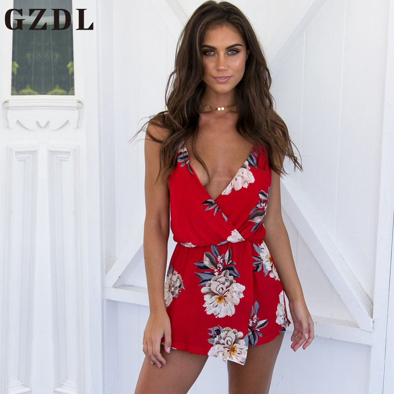 GZDL Sexy Women Spaghetti Strap Playsuits Rompers Plunge V Neck Jumpsuits Summer Floral Print Ruffles Backless Bodysuits CL3812