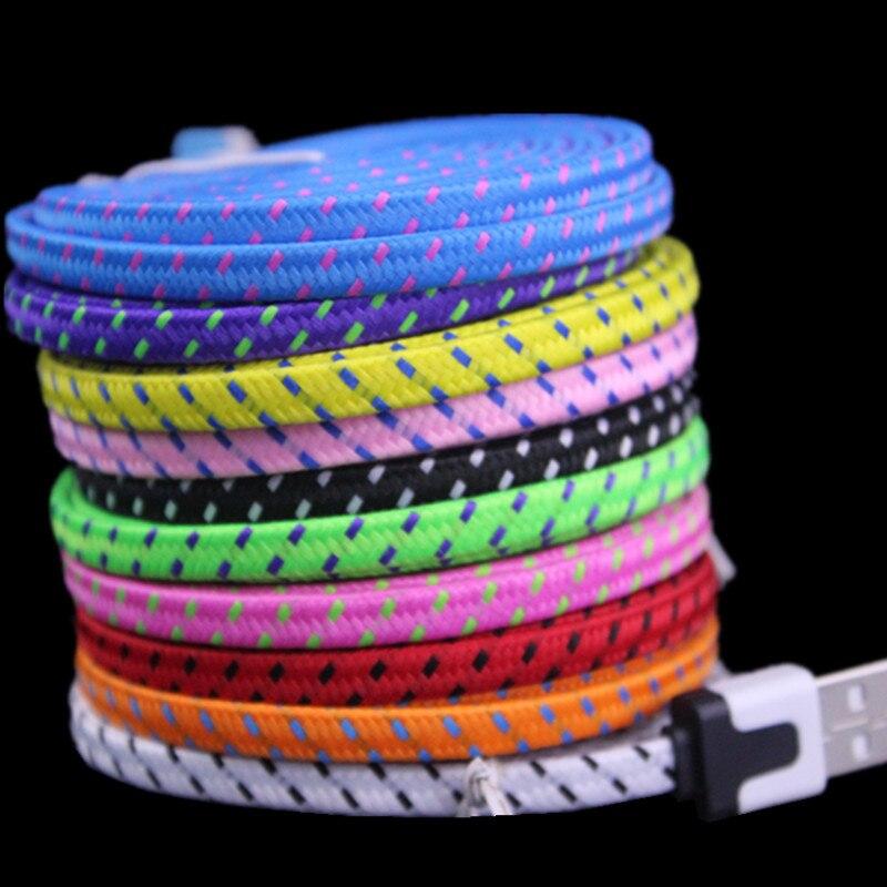 bilder für IOS10 Bunte 6FT 2 Mt Wohnung Noodle Stoff Nylon Woven Geflochtene USB kabel Zubehörpakete für iPhone 6 5 5 S 5C 100 stücke DHL