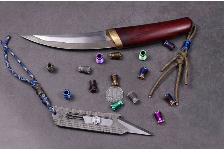 F Titanium Alloy Knife Beads Pendant Umbrella Rope Outdoors Knife Beads Pendant EDC Multi Tools EDC Paracord Beads in Knives from Tools