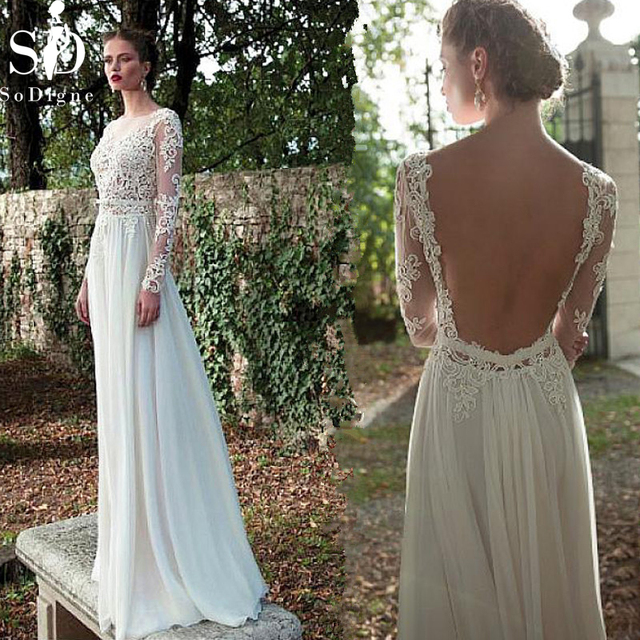 9192a30990 SoDigne Sexy Backless Wedding Dresses 2019 New Beach Dress Long sleeve  Bridal Dress Cheap Chiffon with Lace with Appliques Dress