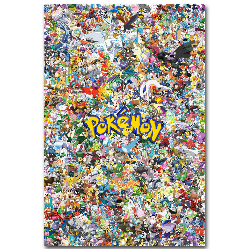 Pikachu – Pokemon All Monsters Art Silk Fabric Poster Print Pocket Monster Anime Picture for Living Room Wall Decoration 09