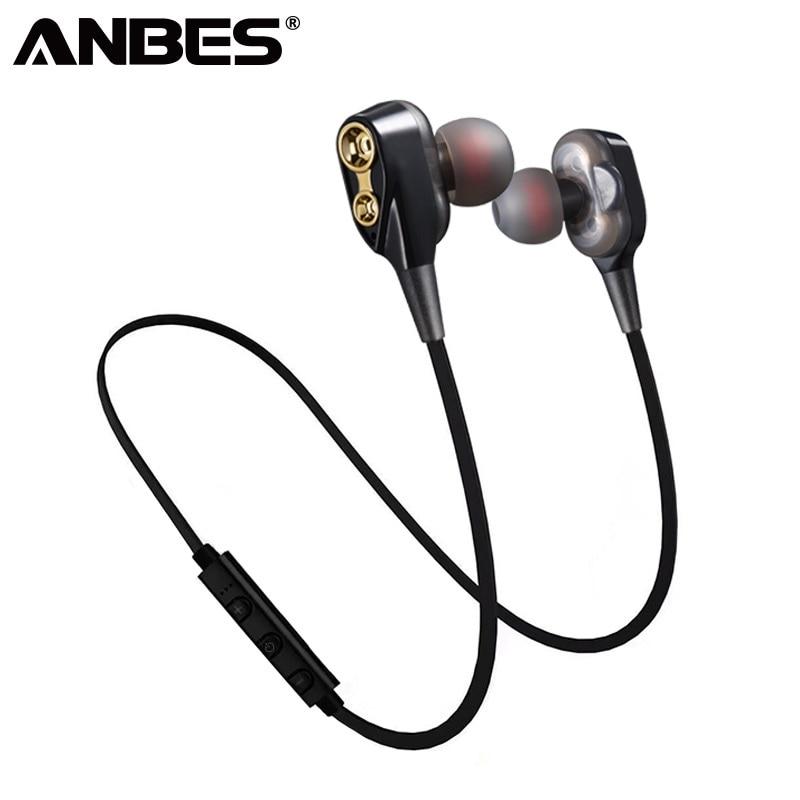 Bluetooth Headphones Wireless Double Unit Earphone Bluetooth Two Unit Driver Earbuds HIFI Bass Subwoofer Headset With Mic antik siyah kulp