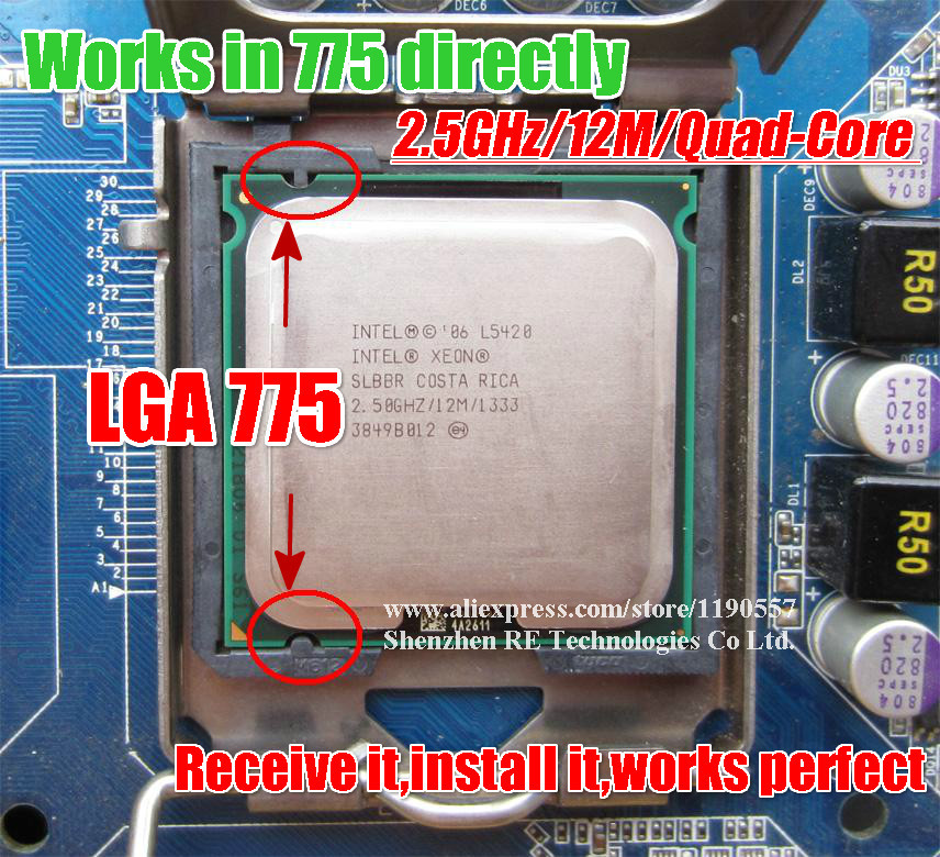 Intel Xeon L5420 2.5GHz 12M 1333Mhz Processor Works on LGA775 mainboard no need adapter