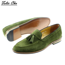 Brand New Smart Mens Green Wedding Dress Shoes Men Casual Loafers Cow Suede Genuine Leather Male Driving Flats Party Footwear