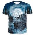 New hot sale Galaxy Galaxy 3D Lobo imprimiu a camisa ocasional dos homens T-Shirt Verão Plus Size O-pescoço manga curta moda t-Shirt da juventude