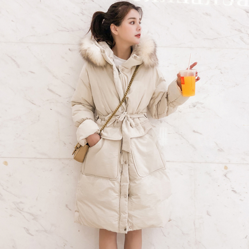 2019 New Design Women Winter Jacket With Fur Hooded Sweet Long Female Coat Outwear Padded High Quality   Parka   Abrigo Mujer Warm