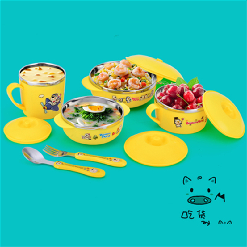 4Pcs Set Baby bowl spoon fork with lid Stainless Steel Tableware Set Feeding Food Tableware Kids Dishes Dinnerware Anti hot Gift in Dishes from Mother Kids