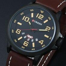 Marca de lujo CURREN hombres relojes deportivos hombres Quartz Date reloj moda Casual correa de cuero ejército militar reloj de pulsera para hombre del Relogio
