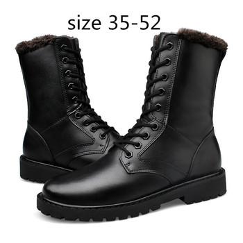 Plus Size męskie buty z prawdziwej skóry zimowe buty męskie buty wojskowe buty męskie futrzane zamszowe buty ciepłe zwykłe buty płaskie śniegowe buty tanie i dobre opinie Dla dorosłych Niska (1 cm-3 cm) RUBBER Połowy łydki 5858MX Skóra bydlęca Zima Lace-up RAPQUE Wiązanej krzyżowe Okrągły nosek