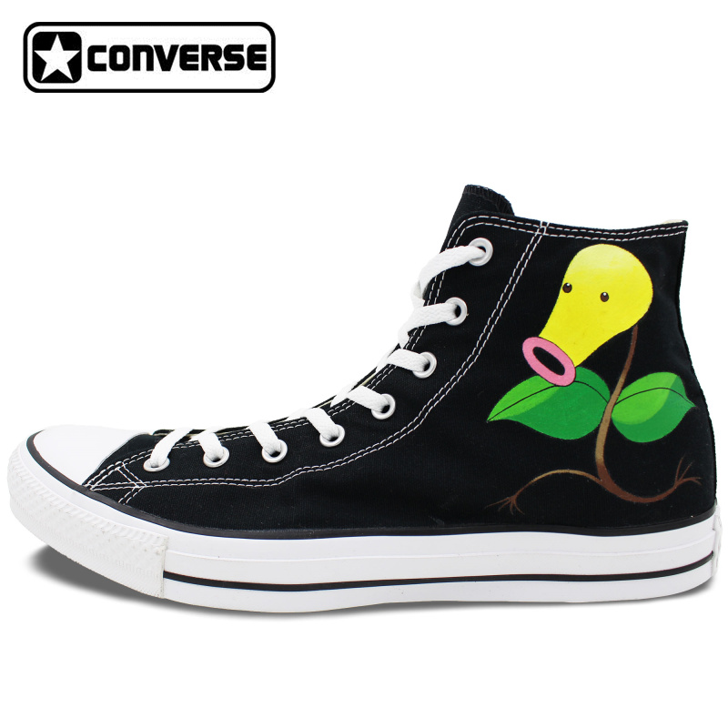 Prix pour Hommes Femmes Converse All Star Garçons Filles Chaussures Personnalisé Pokemon Aller Bellsprout Fleur Conception High Top Sneakers D'anniversaire Cadeaux