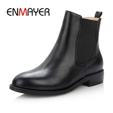 ENMAYER Boots women Round toe slip-on ankle boots black flat with  Ankle Ladies Shoes Woman Size 34-43 ZYL918
