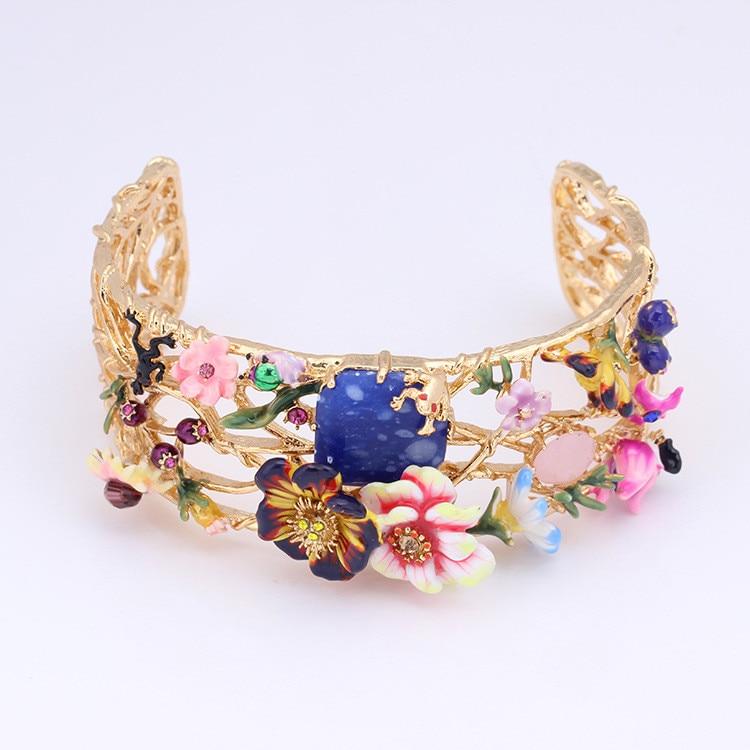French Jewelry Paris Enamel Glaze Monet Gardens Trendy Various Flower Gem Women Bracelet 2017 New Arrive new arrive women