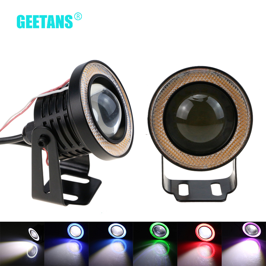 GEETANS 2pcs Waterproof Projector LED Fog Light With Lens Halo Angel Eyes Rings COB Xenon White 12V SUV ATV Off Road Fog Lamp G free shipping hid xenon fog lamp projector lens kit glass lens with white red blue yellow purple green cob angel eyes