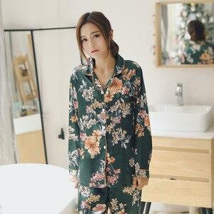 Image 4 - Spring Women Silk Long Sleeve Pajamas Sets 2 Pieces Sleepwear Soft Casual Comfortable Pyjama Print Flower Pijama Nightwear