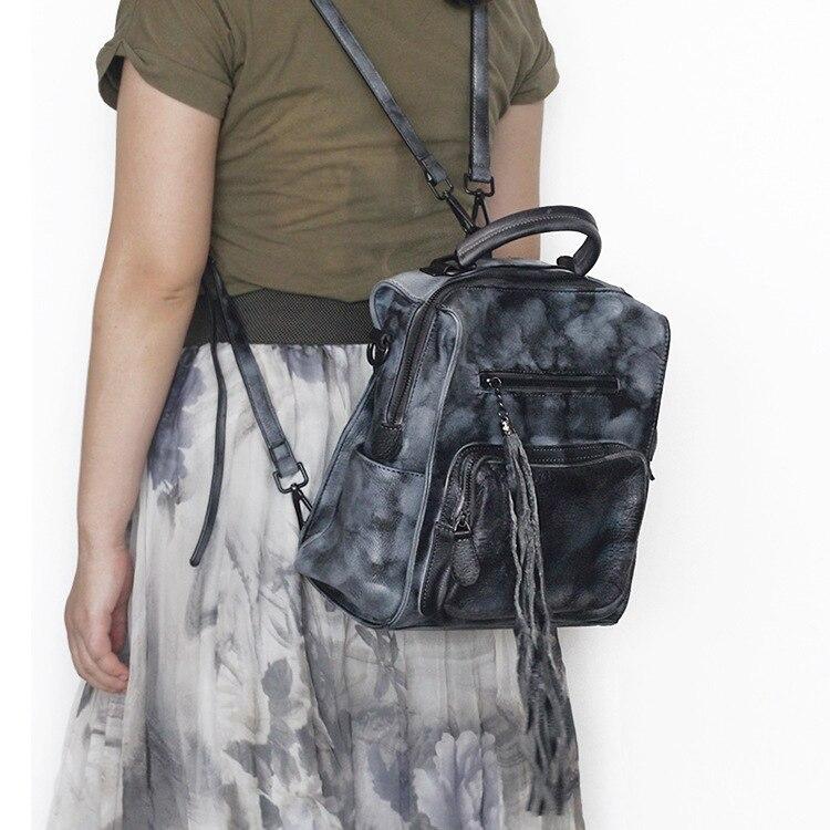 AETOO New retro handmade wiping cowhide leather backpack women vintage multi-function practical backpack personality tassel bags