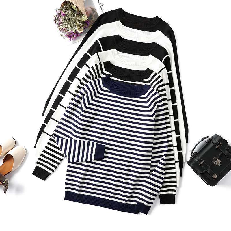 2019 Autumn Winter Long Sleeve Striped Pullover Women Sweater Knitted Sweaters O-Neck Tops Korean Pull Femme Jumper Female White