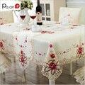 Europa Tampa de Tabela Toalha de mesa de Poliéster Bordado Floral Oco Retangular Elegante Partido Home Decoração Do Casamento Pa. uma
