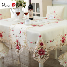 New Design Elegant Polyester Embroidery Tablecloth Embroidered Floral Cutwork Table Cloth Covers Runners with Lace Edge Hot Sale