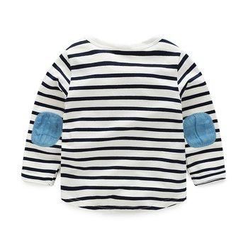 1-6 Age Toddler Boys Long Sleeve Striped T-shirt Spring Autumn Kids Top Anchor Patch Children's Clothing