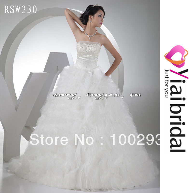 RSW330 Vertical Ruffle Organza Wedding Dress Real Sample