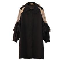 Новинка, весеннее женское платье размера плюс XL-5XL, европейский стиль, лоскутные кружевные платья, открытые оборки, черный цвет, Vestidos