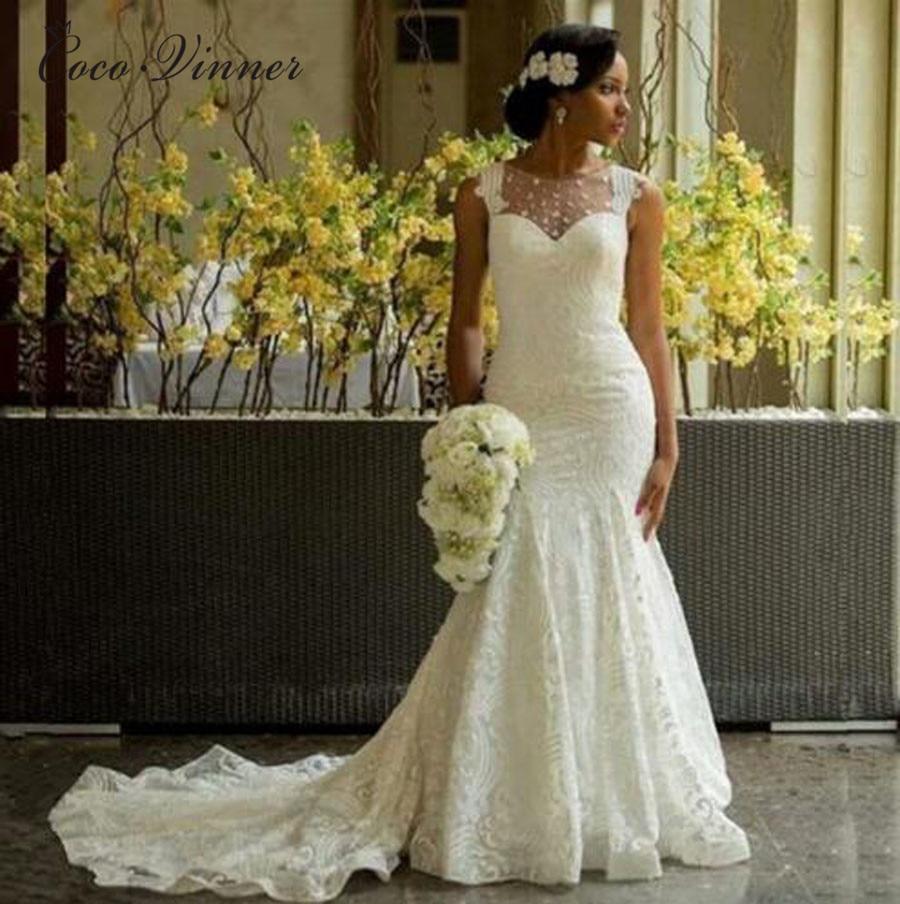 Marriage Mermaid Wedding Dresses Sheer Neck Illusion Back Vintage Lace Wedding Dress 2019 Plus Size White Court Train W0406