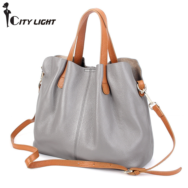Women Fashion Bags Genuine Leather Handbag Luxury Brand Women Bag Casual Tote Bags High Quality Shoulder Bag cross package hahmes 100% genuine leather women bags fashion casual tote handbag wholesale high capacity shoulder bag 31cm 10602