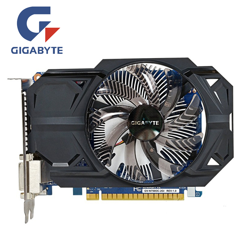 GIGABYTE GTX 750 2GB D5 Video Card GTX750 2GD5 128Bit GDDR5 Graphics Cards for nVIDIA Geforce GTX750 Hdmi Dvi Used VGA Cards lan baoshi сапфир rx550 2g d5 platinum edition oc 1206mhz 7000mhz 2gb 128bit gddr5 dx12 независимой игровой графики