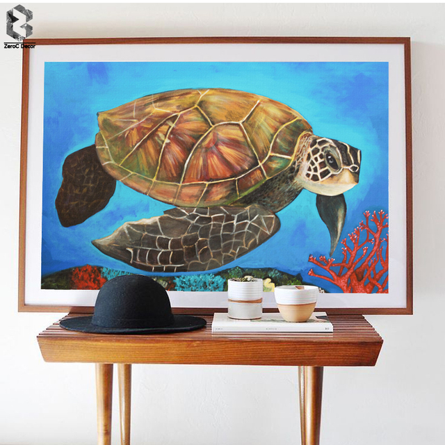 Watercolor Sea Turtle Wall Art Prints And Posters Canvas Painting Pictures  For Living Room Tortoise Kidu0027s