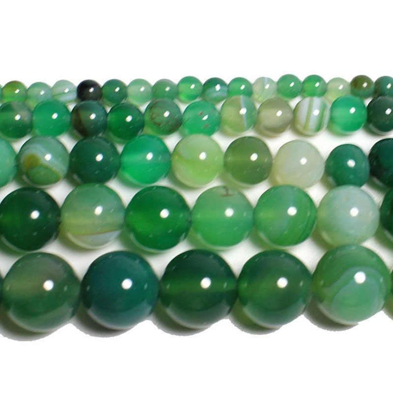 """15 """"нитка натуральный камень Бусины гладкие зеленые полосатые Агаты круглые свободные бусины для изготовления ювелирных изделий ожерелье браслет 4-12 мм"""