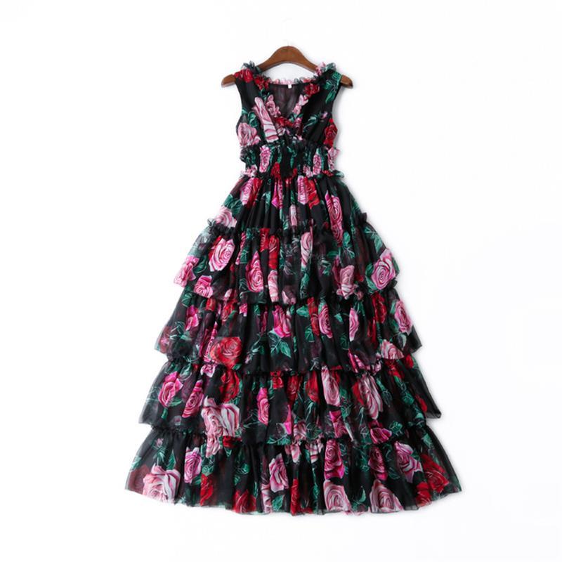 Femmes Haute Casual Floral Robe Piste Manches cou Imprimé Robes Parti Élégant Qualité Gâteau Np0181n Sans 2019 V rtUrgwqH
