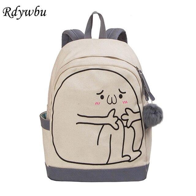 Rdywbu Cartoon Printing Canvas Backpack With Pompon Preppy Style School Book Bag S Fun Travel