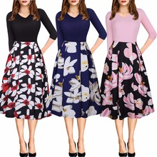 New hot spring and autumn explosions fashion personality stitching print long-sleeved elegant female slim dress