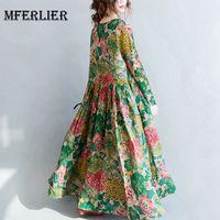 Mferlier Woman Autumn Summer Floral Dress O Neck Long Sleeve Pleated Waist Women Elegant Loose Cotton