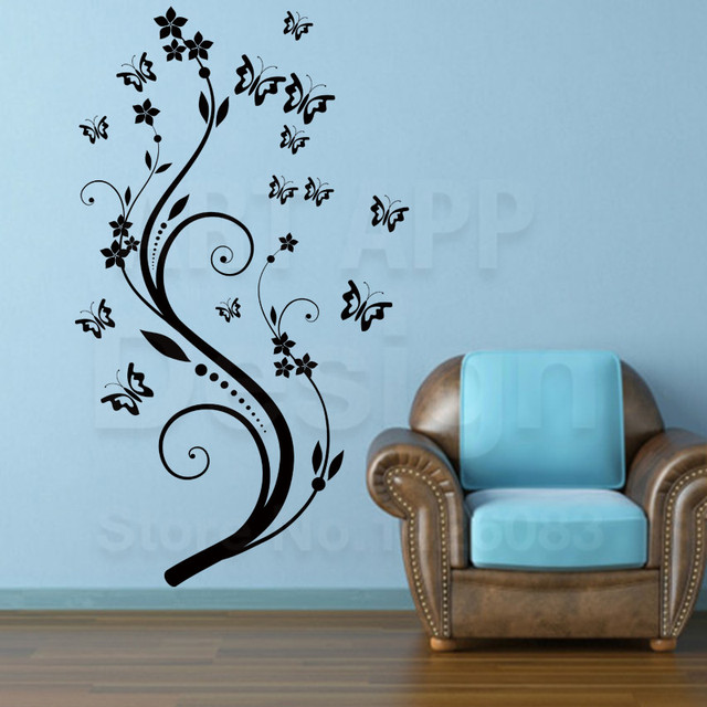 Delightful Art Beautiful Design Home Decoration Vinyl Butterfly Flower Wall Sticker  Removable Pvc House Decor Decals In