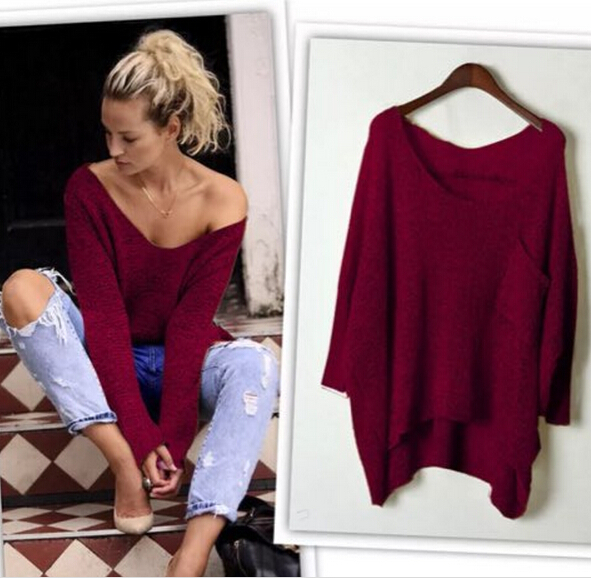 2016 Autumn Long Baggy Sweaters Batwing Knitting Sweater vetement ...