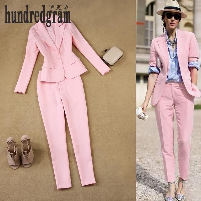 Europa y los Estados Unidos la nueva moda Británica simples trajes de color rosa + 9 pantalones pies pantalones suit-dod153