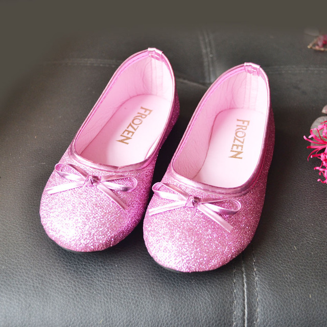 2017 Fashion Pink Glitter Girls Ballet Flats Shoes Bow Tie Children's Flats Shoes Cos-play Sofia Princess Shoes Anna Shoes Party