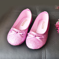 2017 Fashion Pink Glitter Girls Ballet Shoes Pisos Pajarita niños Zapatos Cos-play Sofia Princess Zapatos Anna Zapatos de Fiesta