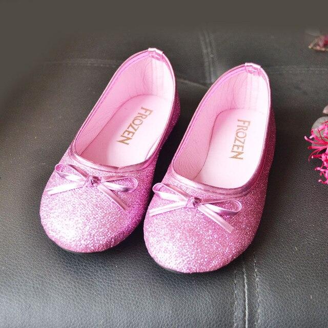 2017 Moda Pink Glitter Flats Meninas do Ballet Sapatos Gravata borboleta Sapatos Flats Sapatos Cos-play Sofia Princesa das Crianças Anna Sapatos Partido
