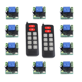 Free shipping 12V 10CH wireless remote control switch system transmitter&receiver Mini size 315/433 Toggle Momentary SKU: 5471