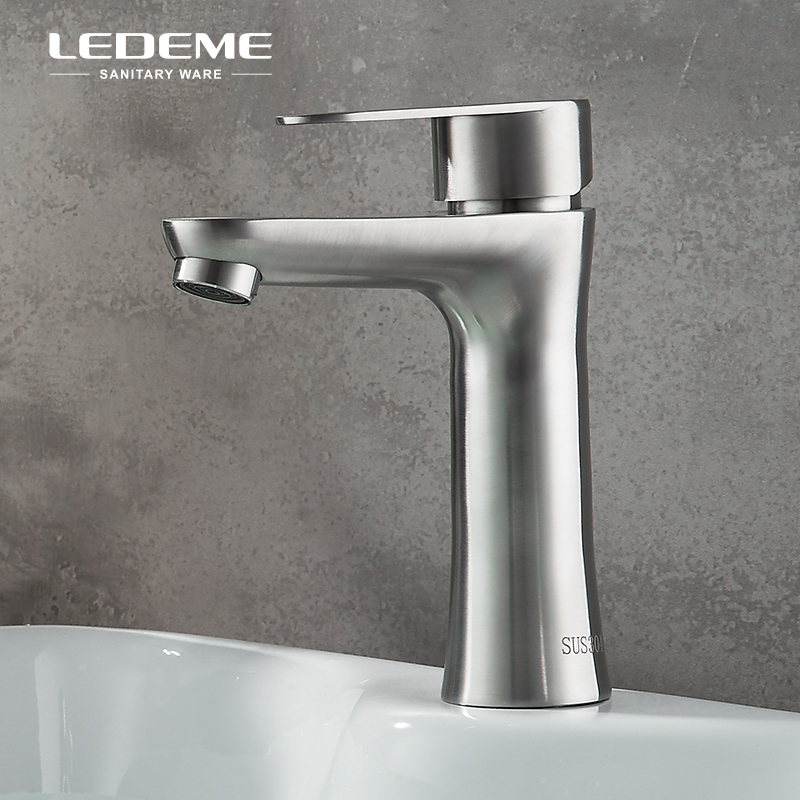LEDEME Bathroom Faucet Modern Single Handle Lavatory Faucet Nickel Brushed  Simple Basin Water Sink Mixer Tap Crane L71002 LEDEME Bathroom Faucet Modern Single Handle Lavatory Faucet Nickel Brushed  Simple Basin Water Sink Mixer Tap Crane L71002